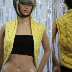Jackets & Blazers - BEBE Yellow Princess Sweater Vest